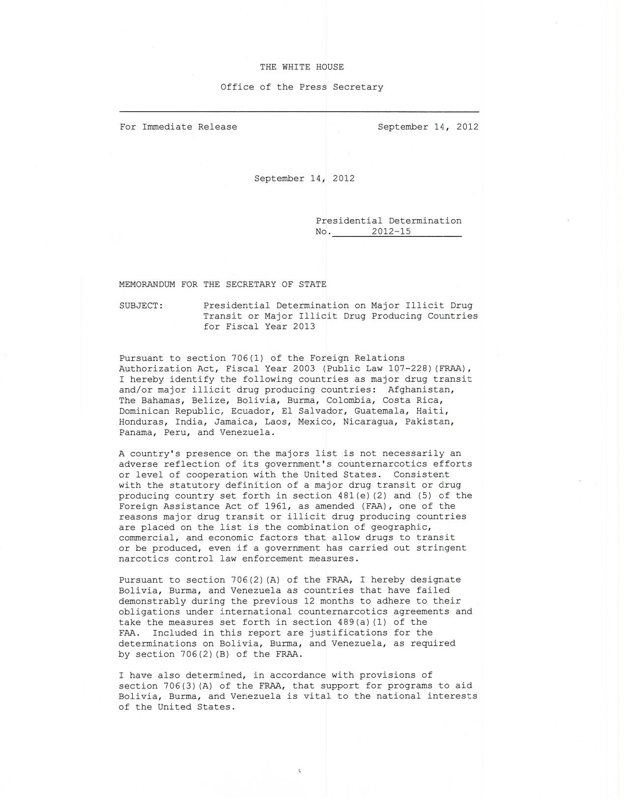 white house presidential determination memorandum of  post navigation