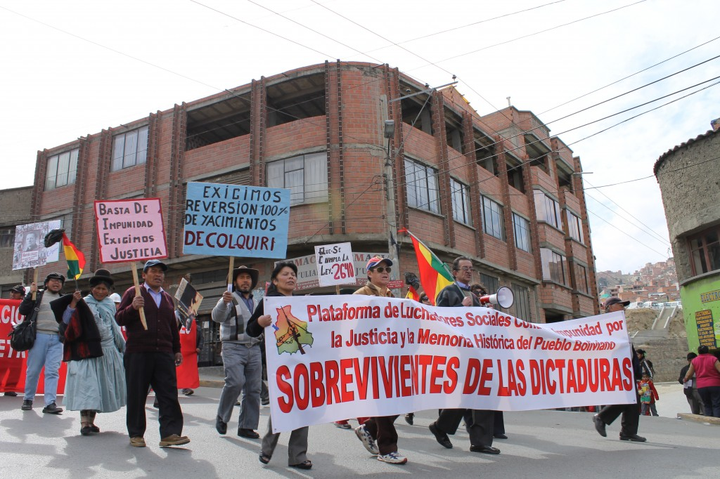 "The Platform marching with COB; ""Platform of Advocates Against Impunity and for Justice and Historical Memory of the Bolivian People Survivors of the Dictatorship"""