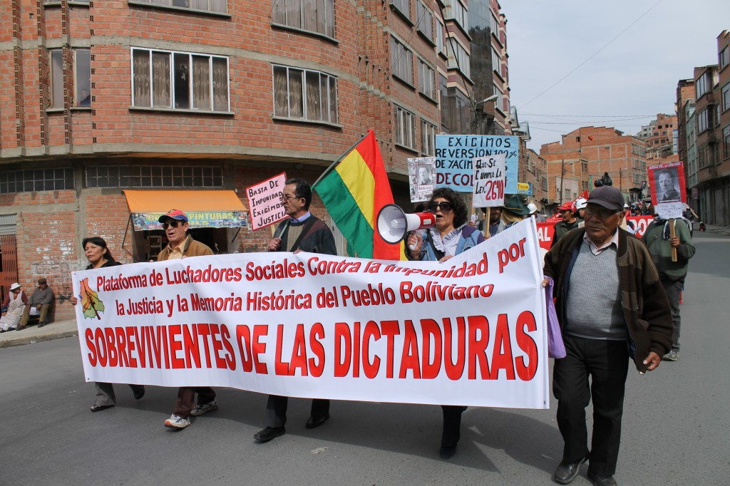 "The Platform marching with COB; ""Platform of Advocate Against Impunity and for Justice and Historical Memory of the Bolivian Dictatorship Survivors"""