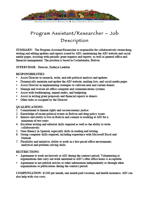 Program Assistant Job Description